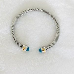 Cable Classic Bracelet w/ Blue Topaz and 14K Gold
